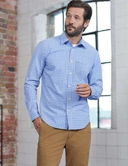 Blues Multi Gingham Poplin Pattern Shirt