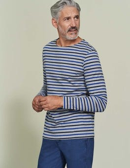 Grey Marl Multi Stripe Breton Mariner