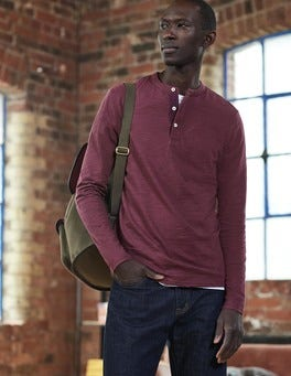 Blackcurrant Long Sleeve Slub Henley