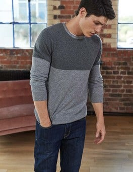 Grey Colourblock Cashmere Crew Neck