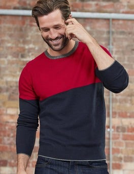 Winterberry Colourblock Cashmere Crew Neck