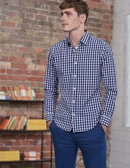 Blues Colour Pop Gingham Slim Fit Poplin Pattern Shirt
