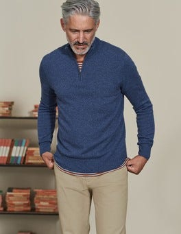 Denim Cashmere Half-Zip