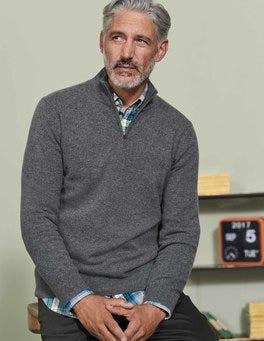 Grey Cashmere Half-Zip