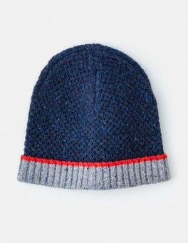 Navy Donegal Colourblock Merino Woolly Hat