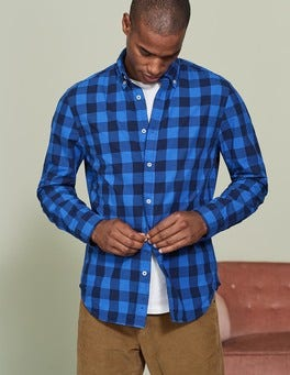 Winter Blue Gingham Slim Fit Garment Dye Shirt