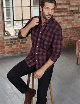 Blackcurrant Gingham Slim Fit Garment Dye Shirt