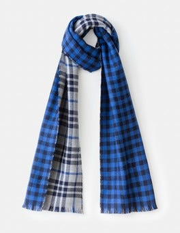 Grey Marl & Blue Check Merino Double Face Scarf