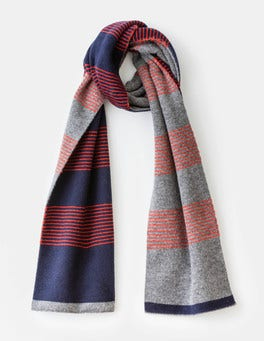 Fine Stripe Colourblock Lambswool Scarf
