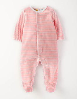 Shell Pink Stripe Cosy Velour Sleepsuit