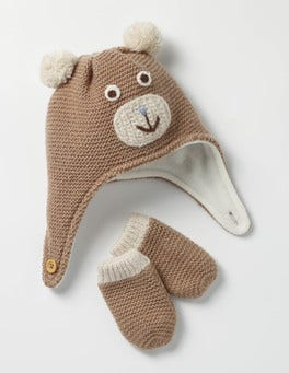Mouse Brown Bear Novelty Hat & Mittens Set