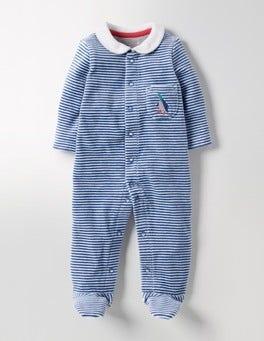 Stowaway Blue/Ivory Cosy Collar Velour Sleepsuit
