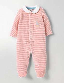 Shell Pink/Ivory Pretty Collar Velour Sleepsuit