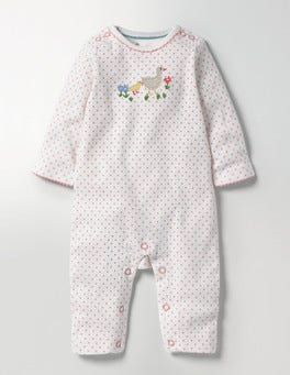 Shell Pink Pin Spot River Ducks Appliqué Romper