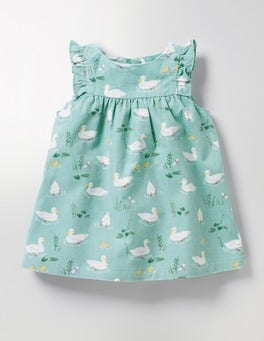 Pool Blue Ducks Ruffle Cord Pinafore