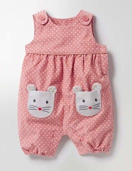 Almond Blossom Pink Mice Fun Cord Playsuit