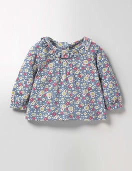 Wren Blue Vintage Daisy Pretty Printed T-shirt