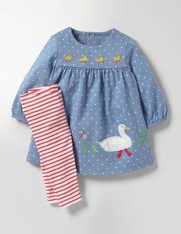 Wren Blue Pin Spot Appliqué Dress & Leggings Set