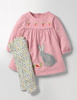 Almond Blossom Pink Pin Spot Appliqué Dress & Leggings Set