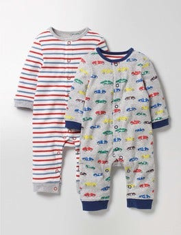 Grey Marl Vintage Cars Twin Pack Fun Rompers