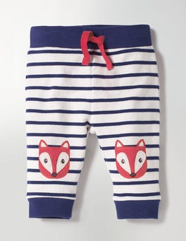 Ecru/Beacon Blue Fox Fun Knee Pants