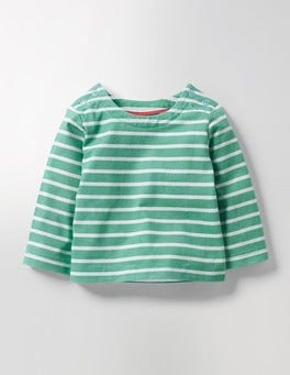 Greenhouse Green/Ecru Elbow Patch Breton T-shirt