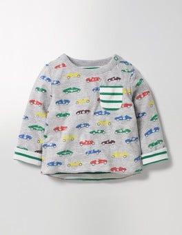 Grey Marl Vintage Cars Reversible Printed T-shirt