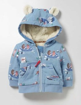 Mineral Blue Boat House Shaggy-lined Zip-up Hoodie
