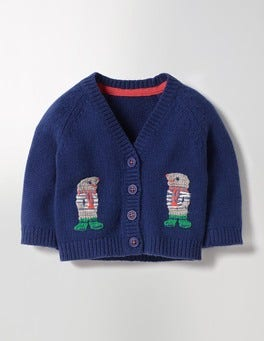 Beacon Blue Moles Crochet Friends Cardigan