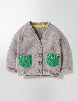 Grey Marl Frogs Crochet Friends Cardigan
