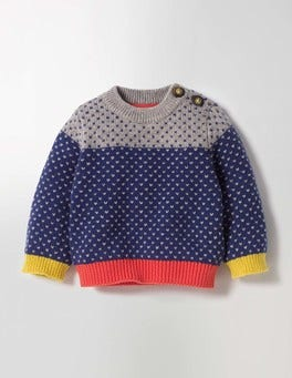 Beacon Blue/Grey Marl Colourblock Jumper