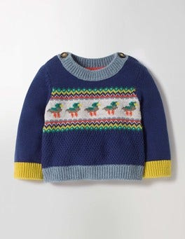 Beacon Blue Ducks Fun Knitted Jumper