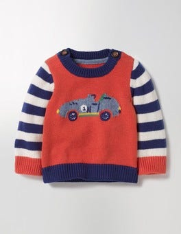 Crayon Red Cars Fun Knitted Jumper
