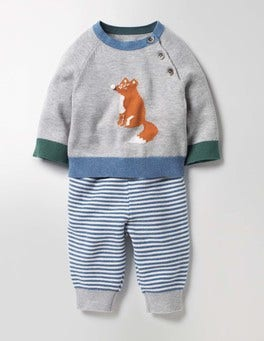 Grey Marl Fox Fun Knitted Play Set