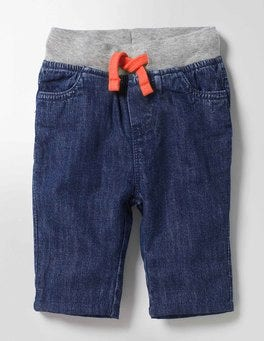 Mid Denim Rib Waist Pants