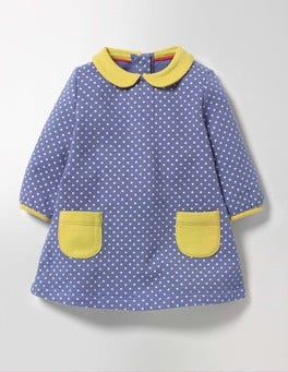 English China Blue Pin Spot Cosy Collared Dress
