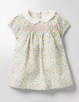 Multi Baby Rose Pretty Collared Smock Dress