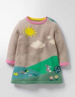 Oatmeal Marl Riverside Scene River Bank Knitted Dress