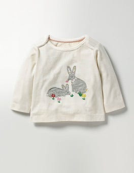 Ecru Bunnies Woodland Appliqué T-shirt
