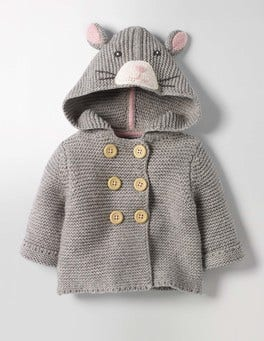 Grey Marl Mouse Fun Animal Knitted Jacket
