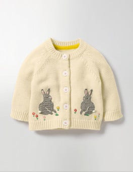 Ecru Marl Bunnies Fun Cardigan