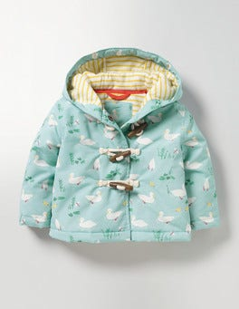 Pool Blue Ducks Ducks Printed Duffle Coat