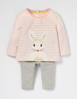 Ecru/Provence Dusty Pink Bunny Animal Friends Jersey Play Set