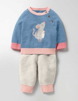 Wren Blue Mouse Animal Knitted Play Set