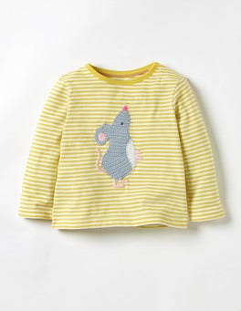 Sweetcorn Yellow/Ecru Mouse Crochet Animal T-shirt