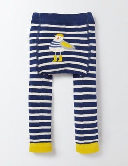 Beacon and Ecru Stripe Knitted Leggings