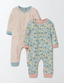 Mineral Blue Flower Bed Pretty Twin Pack Rompers