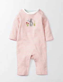 Shell Pink/Ivory Stripe Bunny Appliqué Romper