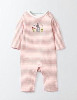 Shell Pink/Ivory Stripe Bunny Appliqué Romper