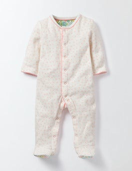 Parisian Pink Spot Spotty Towelling Sleepsuit